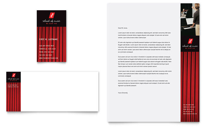 music school business card amp letterhead template design