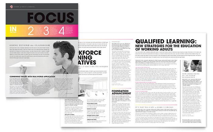 Adult Education Newsletter Template Design