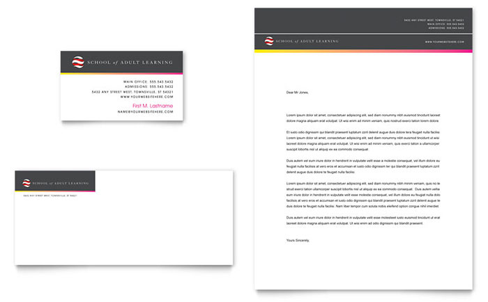 Adult Education & Business School Business Card & Letterhead Template Design