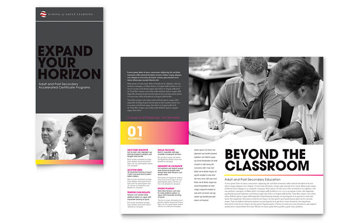 Adult education business school tri fold brochure for College brochure design pdf