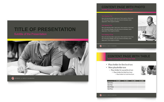 Adult Education PowerPoint Presentation Template Design