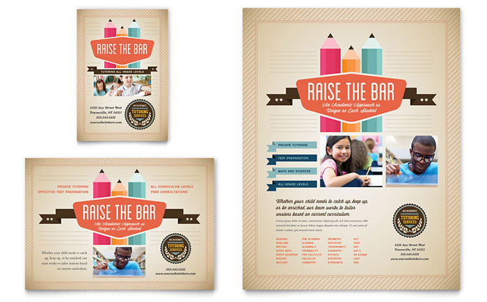 Tutoring School Brochure Template Design – Advertising Brochure Template