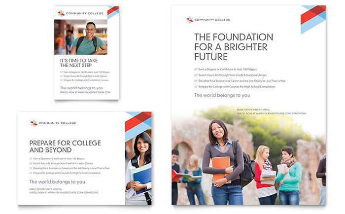 Community college flyer ad template design for College brochure templates free download