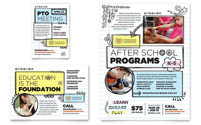 elementary school flyer  u0026 ad template design