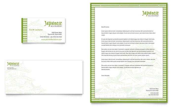 Japanese restaurant business card letterhead template design for Restaurant letterhead templates free
