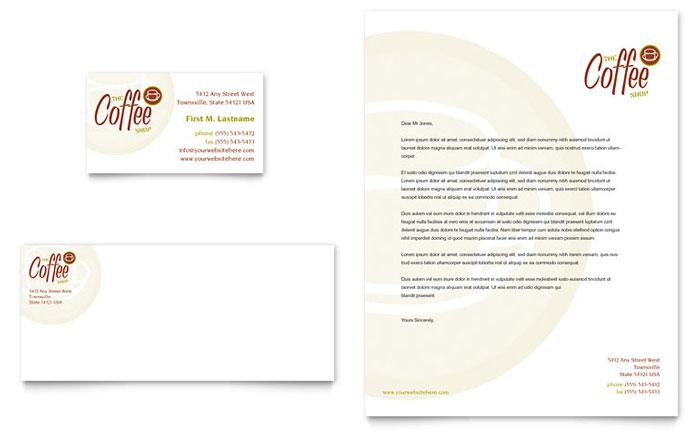 coffee shop business card  u0026 letterhead template design
