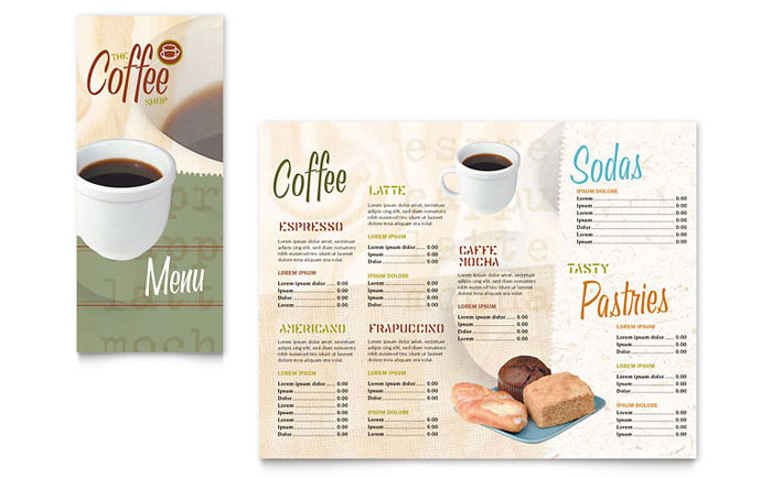 Coffee Shop Take-out Brochure Template Design
