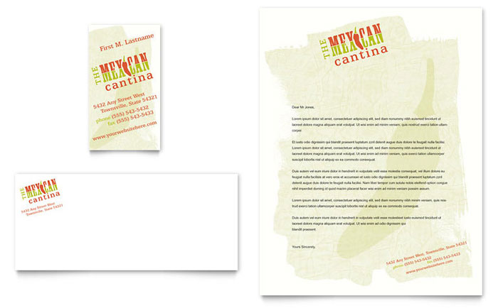 Mexican restaurant business card letterhead template design