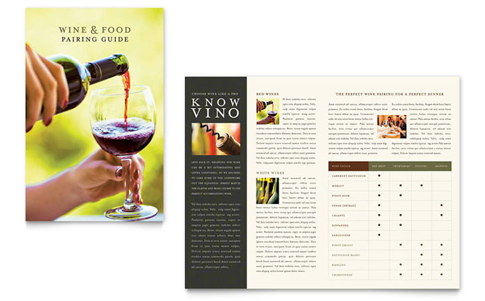 Vineyard winery brochure template design for Wine brochure template