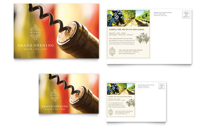 Vineyard winery postcard template design for Wine brochure template free