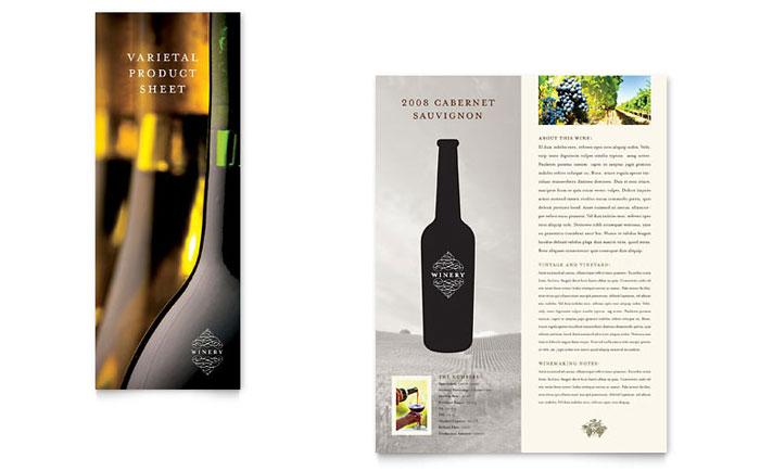 vineyard  u0026 winery datasheet template design