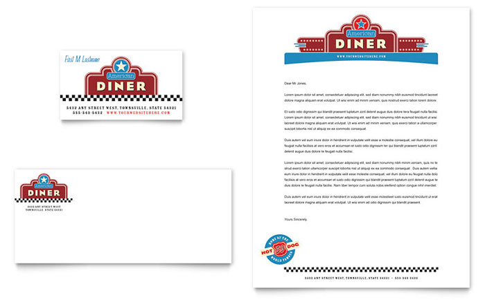 american diner restaurant business card  u0026 letterhead