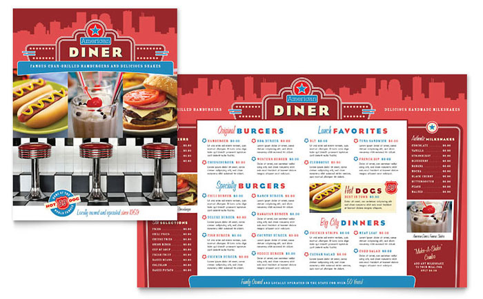 American Diner Restaurant Menu Template Design