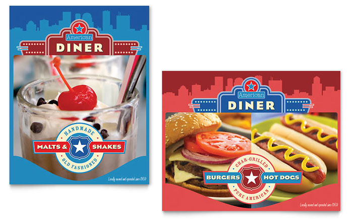 American Diner Restaurant Menu Template Design – Microsoft Office Menu Template