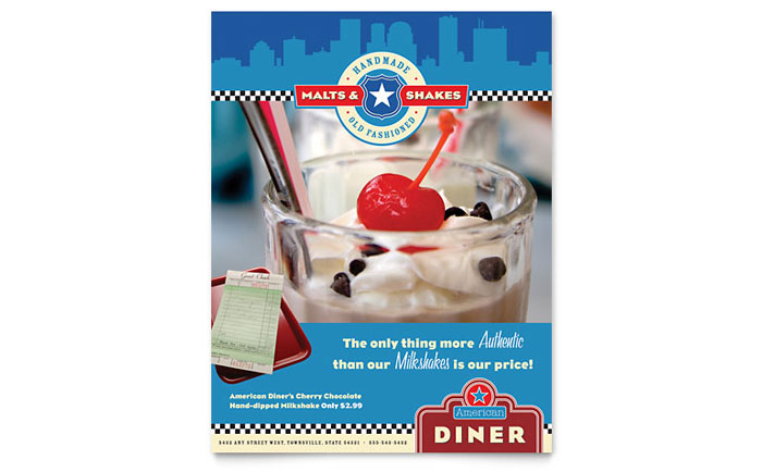 american diner restaurant flyer template design