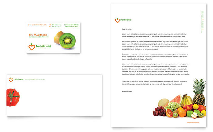 nutritionist  u0026 dietitian business card  u0026 letterhead