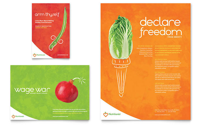 Nutritionist & Dietitian Flyer & Ad Template Design