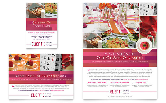 Catering & Event Planning | Print Ad Templates | Food & Beverage