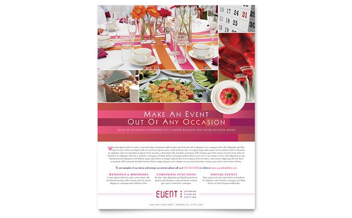 event brochure template - corporate event planner caterer flyer template design