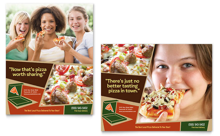 Pizza Pizzeria Restaurant Poster Template Design