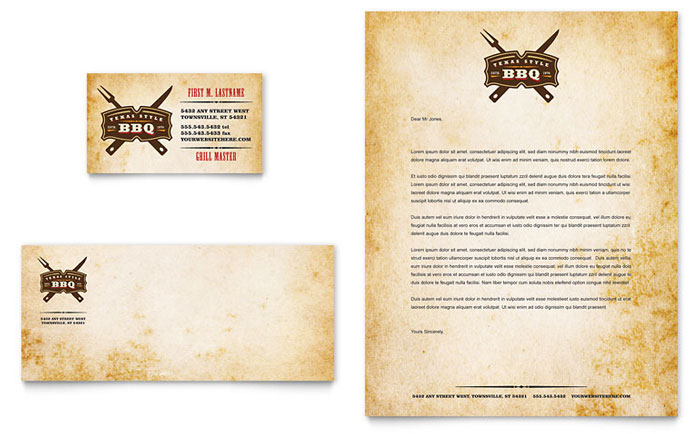 Steakhouse bbq restaurant business card letterhead for Restaurant letterhead templates free