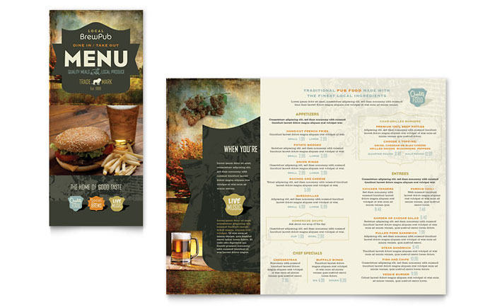 Brewery brew pub take out brochure template design