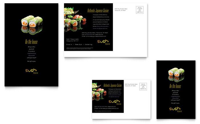Sushi Restaurant Postcard Template Design