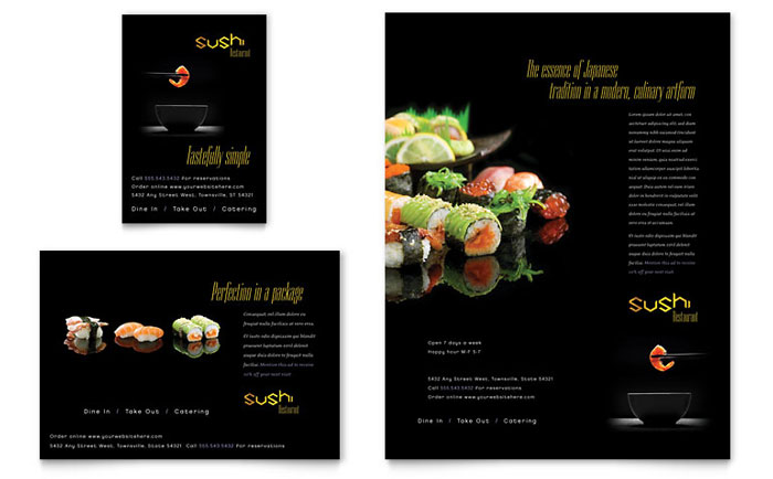 Sushi Restaurant Flyer & Ad Template Design