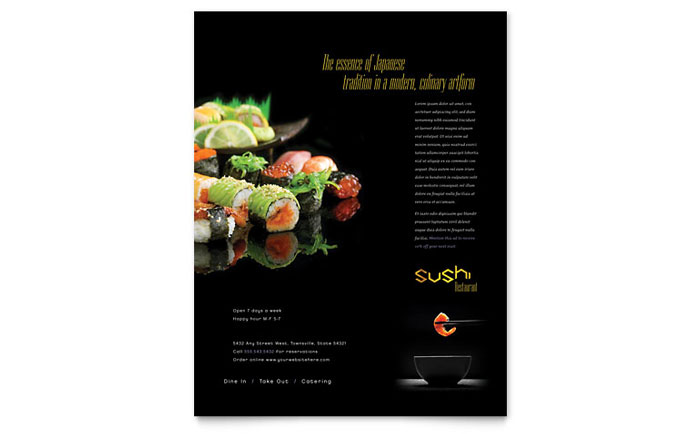 Sushi restaurant flyer template design for Microsoft publisher menu templates free