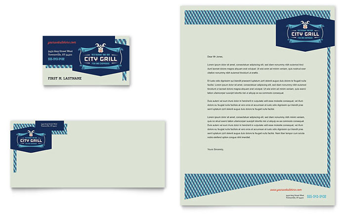 Fine dining restaurant business card letterhead template for Restaurant letterhead templates free