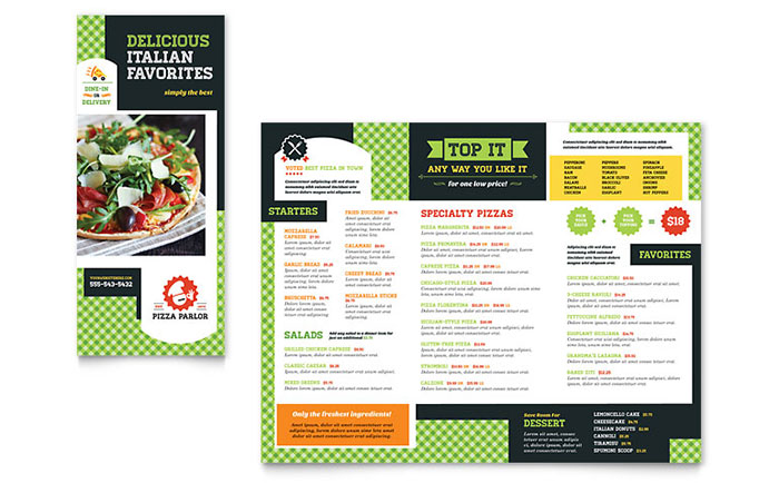 Pizza Parlor Take-out Brochure Template Design