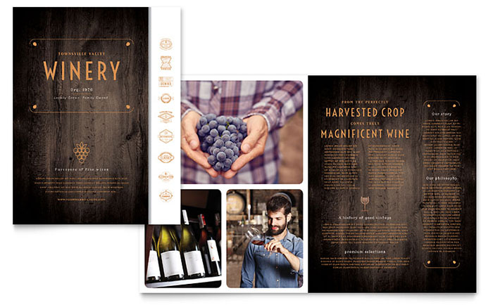 Winery brochure template design for Wine brochure template free