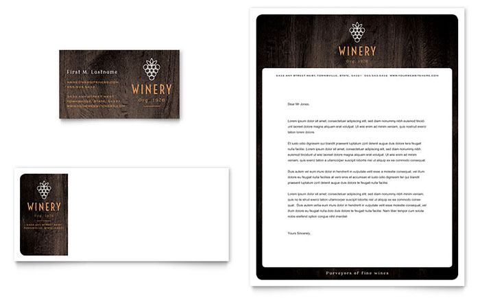 Winery Business Card & Letterhead Template Design
