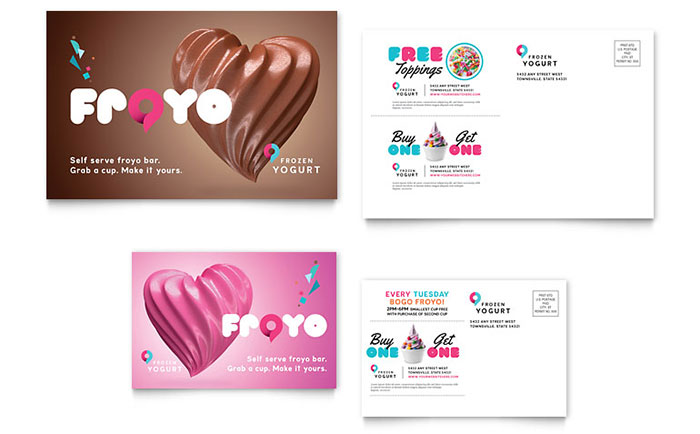 Frozen Yogurt Shop Postcard Template Design