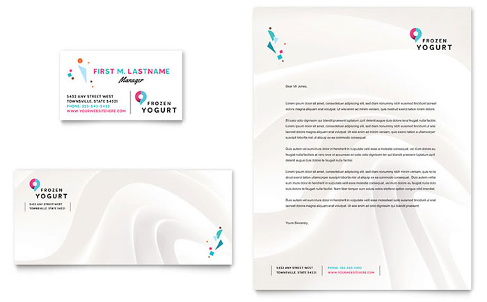 frozen yogurt shop business card  u0026 letterhead template design