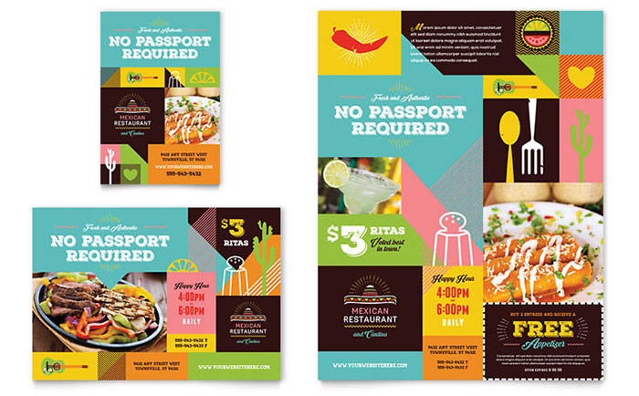 Mexican food cantina flyer ad template design for Ad designs