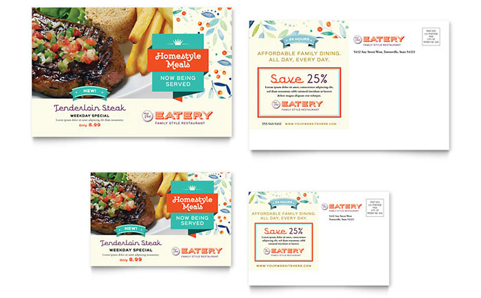 Family restaurant postcard template design for 6x4 postcard template