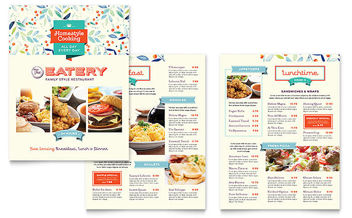 Family restaurant menu template design for Microsoft publisher menu templates free