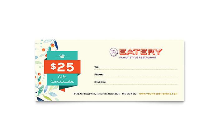 Family restaurant gift certificate template design for Dining gift certificate template