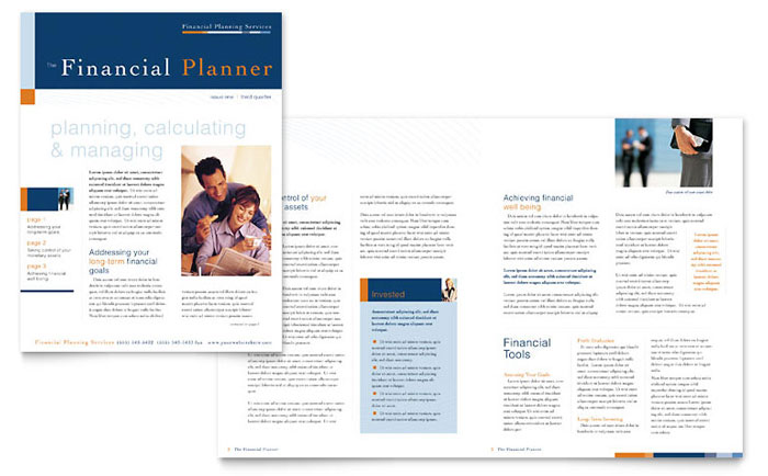 Financial Planning Amp Consulting Newsletter Template Design