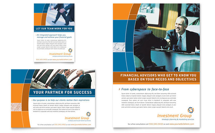 investment services flyer  u0026 ad template design