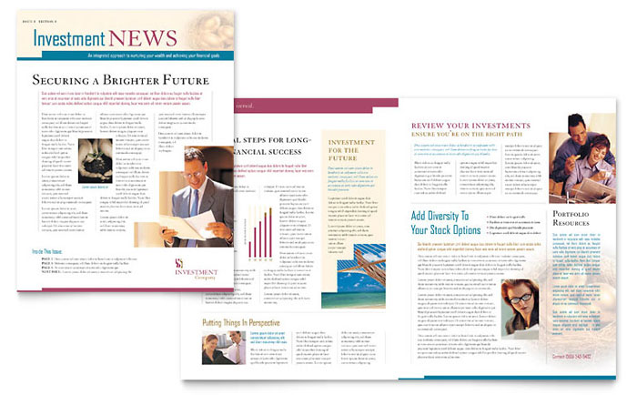 Financial Services Newsletters – Company Newsletter Template Free