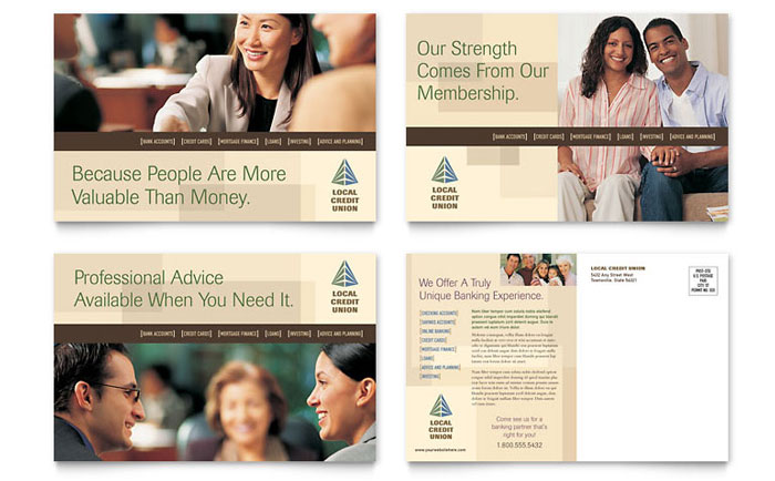 credit union  u0026 bank postcard template design