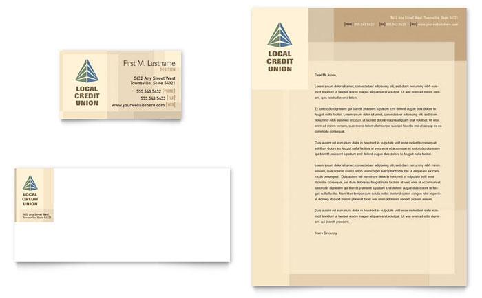 credit union  u0026 bank business card  u0026 letterhead template design