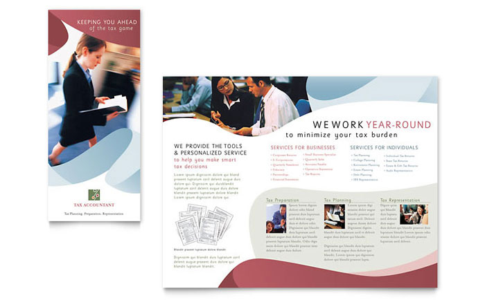 Tax accounting services brochure template design for Brochure design services