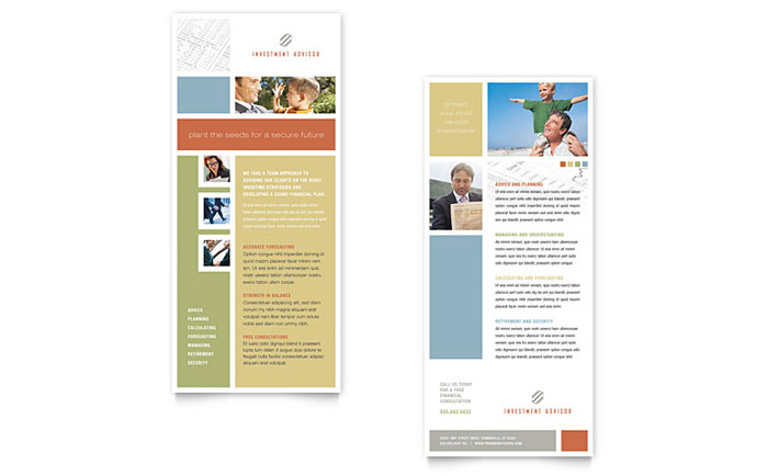 Investment Advisor Rack Card Template Design