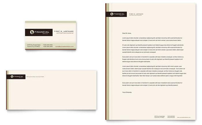 financial planner business card  u0026 letterhead template design