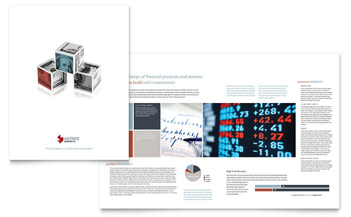 Investment bank brochure template design for Mac brochure template