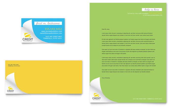 Consumer Credit Counseling Business Card & Letterhead Template Design