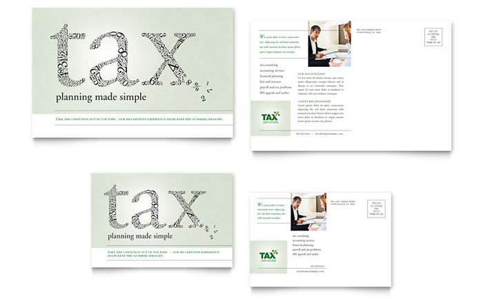 Accounting tax services postcard template design for 6x4 postcard template